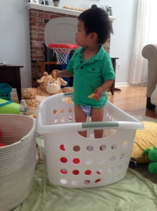 H in laundry basket